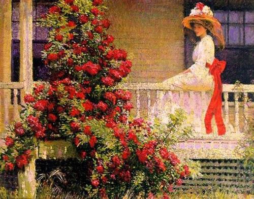 油画中的美女与鲜花,惊艳无比!