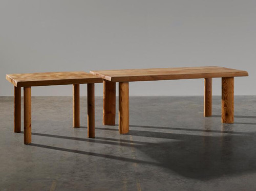 Charlotte Perriand, Pine tree dining table, Pinetree, Table: 28 3/4 x 78 x 331/2 in / 72.5 x 198 x 85 cm, Extension: 28 3/4 x 39 x 33 1/2 in / 72.5 x 99 x 85 cm ©Marie Clérin / Laffanour Galerie Downtown Paris