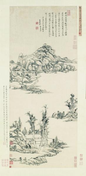 仿倪瓒山水图(国画) 112×47厘米 清 王原祁 上海博物馆藏