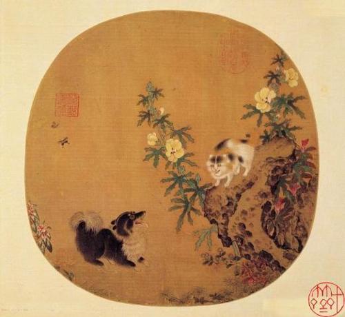 南宋 李迪 《秋葵山石》 绢本设色 台北故宫博物院藏