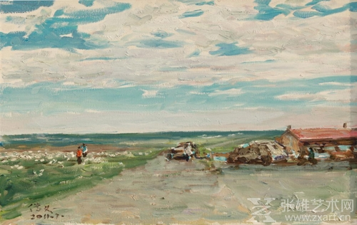 魏传义 《朝洛蒙的牧场》59x49cm  2011年
