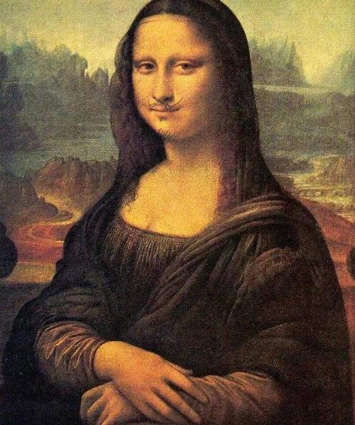 杜尚为蒙娜丽莎画上小胡子图片