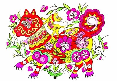 玉犬迎春(农民画) 陕西安塞 高爱金、陈海莉