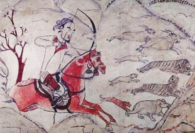 九原岗北朝壁画墓中的狩猎图壁画