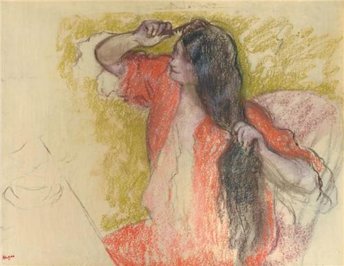 关于美与青春的主题:《身穿红色浴袍梳妆的女子》
