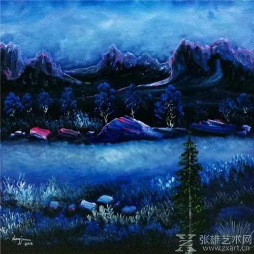 黄建南油画作品《晨雾》