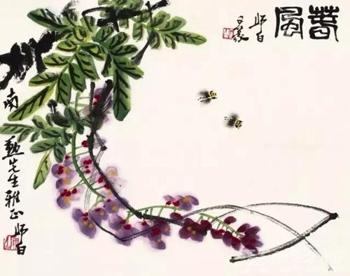 他的紫藤取法于齐白石,其笔下的紫藤花,静静绽放春意,散发着缕缕幽香.