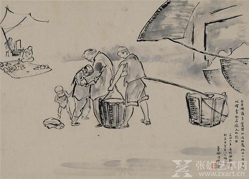 司徒乔,   卖女,1946年,35.6×49.2cm,纸本水墨