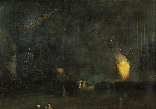 黑色和金色的夜曲:降落的烟火 詹姆斯•阿博特•麦克尼尔•惠斯勒(1834-1903) 1875年 布面油画 泰特:1919年亚瑟•斯塔德遗赠 Nocturne: Black and Gold – The Fire Wheel James Abbott McNeill Whistler (1834-1903) 1875 Oil on ca...
