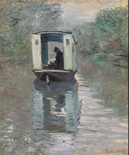 克劳德·莫内《船上画室》 1876年作 巴恩斯基金会艺术馆收藏