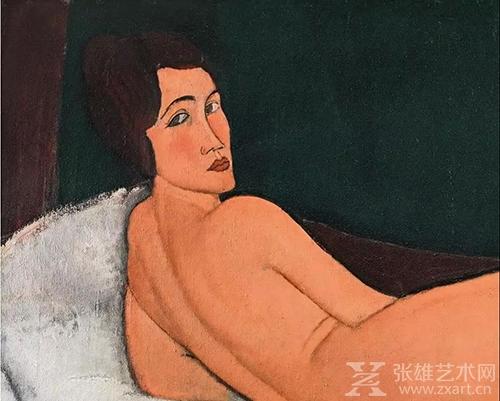 《向左侧卧的裸女》局部