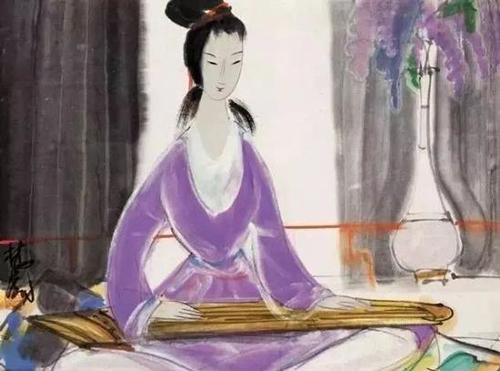 林风眠 紫衣仕女图