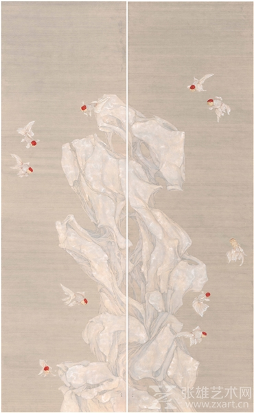 高茜 Gao Qian - 鱼石图 Fish and Stone 纸本设色 Ink and colour on paper 234.5×142cm 2016
