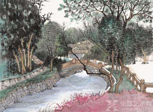 《太湖梅园林里石拱桥》39cm×53cm 卡纸 2016年作