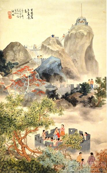 1962年孔继昭老师用工笔画作《日光岩上春意多》,开创现代中国工笔画 画山水的先河,有别于青绿山水,更多表现近景和人物,此画法乏人涉及, 此工笔画鼓浪屿日光岩作品已成孤品。