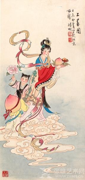 """1979年孔继昭老师在北京画《上寿图》,过硬的""""真功夫""""让人一目 了然,秀美阿娜的身影,飘飞的彩带,世人难得一见。"""