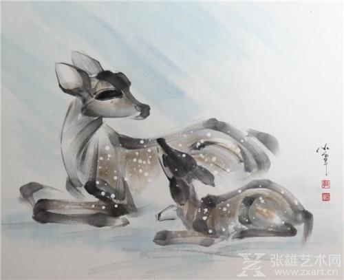 郭少军水墨梅花鹿