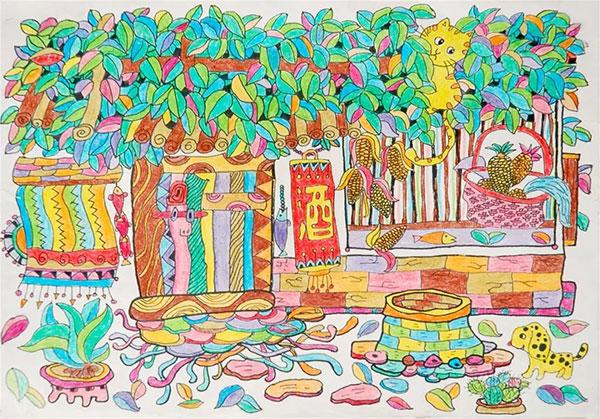 """周怡 乡村酒店 江西省赣南画院""""小画家""""培训中心 指导教师:郭祥达"""