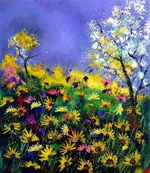 诗意油彩:让人沉醉的蓝色矢车菊
