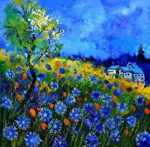 他运用丙烯以及一些特殊技法,描绘夏天里的矢车菊,风铃草和罂粟花
