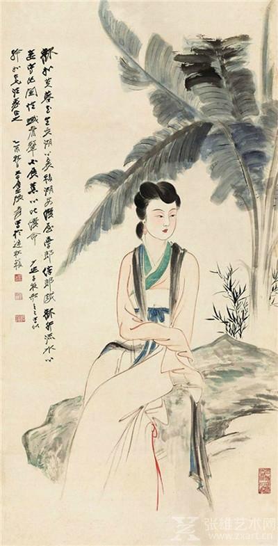 张大千 蕉荫仕女 1945年
