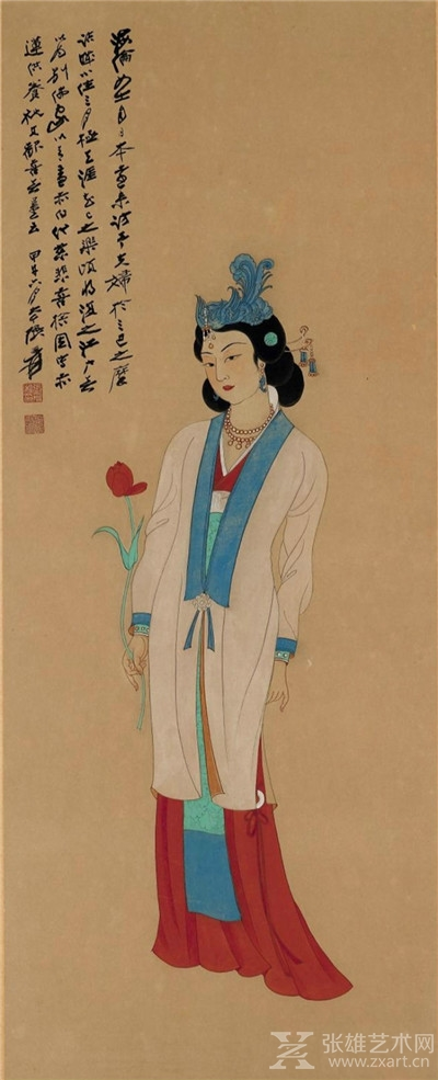 张大千 拈花仕女图 1954年