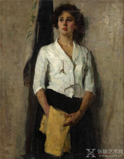 李天祥  俄罗斯少女  布面油画  100X80cm  1957年