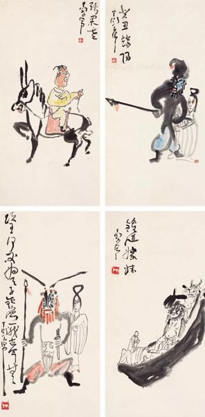 LOT 100 丁衍庸 人物四帧 纸本立轴 69×34.5 cm×4 RMB:150,000-200,000