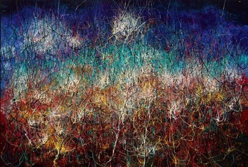 曾梵志,《无题》(Untitled),2018,油彩 画布,250 x 350 厘米 / 98 2/8 x 137 3/4 英寸。© 2018 曾梵志。图片:曾梵志,豪瑟沃斯