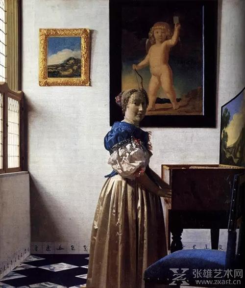 维米尔《站在小键盘琴前的女士》