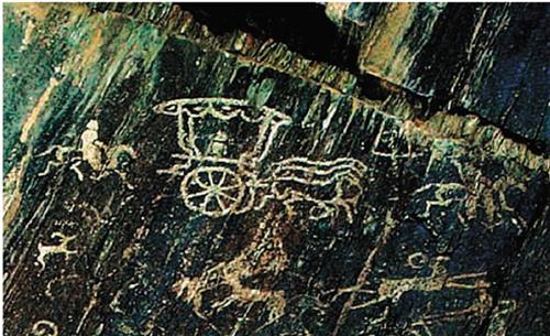 贵族车马图 岩石艺术 蒙古国科布多省境内