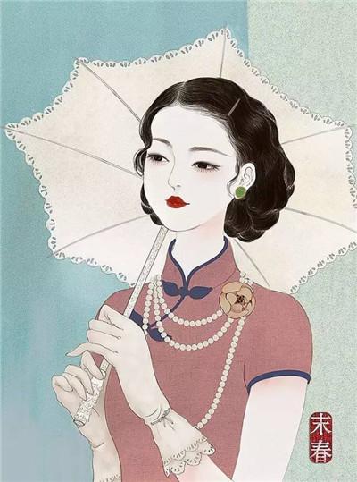 她笔下的旗袍美女:集古典现代美于一体_张雄艺术网图片