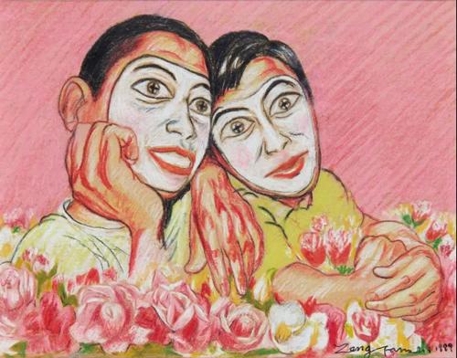 曾梵志(中国,1964年生) 《无题(面具系列)》 彩色铅笔 纸本 11 x 14.5 cm.  1999年作 估价:人民币 380,000 - 580,000 成交价:人民币 1,440,000
