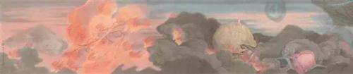 郝量 (中国,1983年生) 《云记》 局部 重彩 绢本  41.5 x 1340.5 cm. 2012-2013年作 估价:人民币 2,800,000 -  3,800,000 成交价:人民币 7,830,000