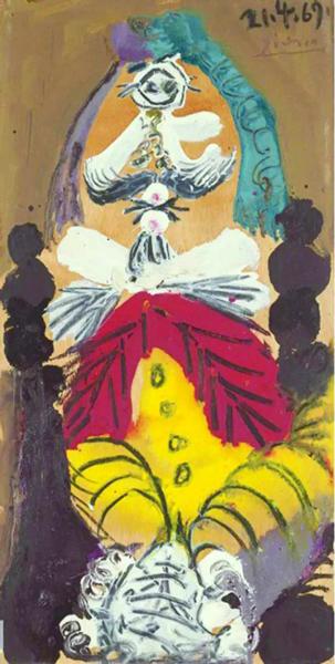 巴布罗·毕加索(西班牙,1881-1973) 《坐着的男人》 油彩木板裱于加固画板 56.6 x 28.7 cm. 1969年作 估价:人民币 4,500,000 - 6,200,000 成交价:人民币 11,550,000
