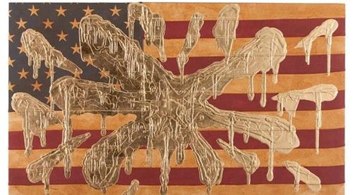 安得烈·舒尔茨(Andrew Schoultz),《金色炸弹旗(金色飞溅)》(2017)。图片:Courtesy of artnet auctions