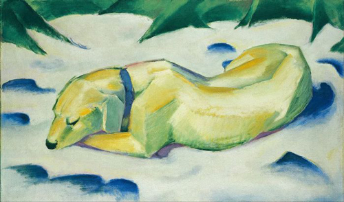 Liegender Hund im Schnee, Dog Lying in the Snow (1910–11)