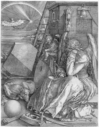 丢勒的版画《忧郁》。资料图片