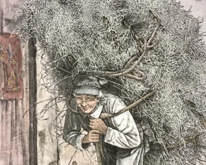 """王长江描绘大凉山上背""""沉甸甸""""干柴的老奶奶及新时代惠安女的人物画 亮相第二届""""一带一路•名家走向世界"""""""