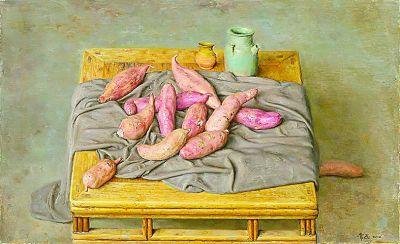 方桌红薯(油画) 常磊