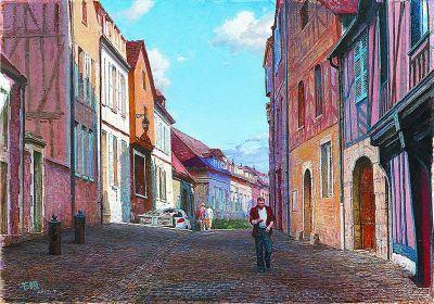 奥塞尔老街的下午(油画) 徐芒耀
