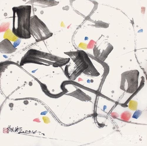 朱法鹏之抽象水墨画,时而排比出大幅极红,极黄,极黑的色块组合,线条
