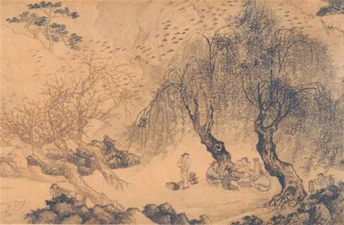 明 周臣 春游闲眺图卷(局部) 上海博物馆藏