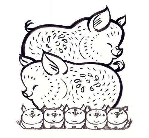 韩美林画的各种猪手稿