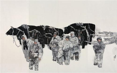 袁武 《进山》四联画(局部)纸本设色 380cm×600cm 2006 年