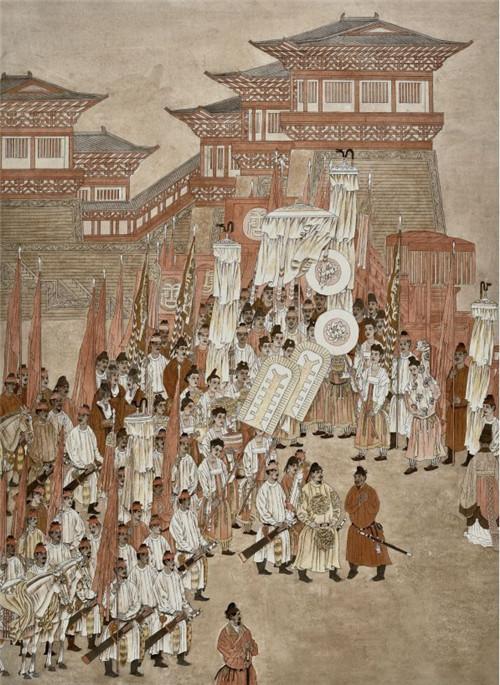 杨晓阳、刘永杰 唐太宗纳谏 纸本设色 275cm×200cm 2016 年