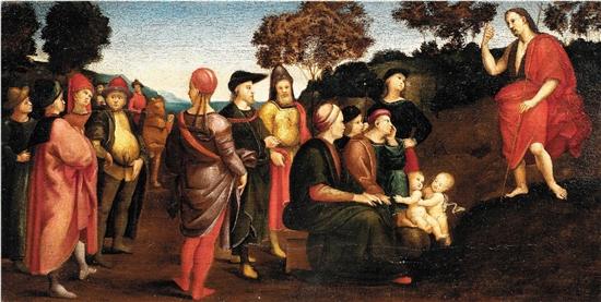 拉斐尔·桑西 施洗者圣约翰布道 28×53.5×1.5cm 布面油画 贝利尼家族收藏