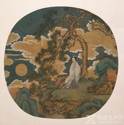 """▲《""""月中仙子""""嫦娥扇面》,元代晚期或明朝早期,芝加哥艺术博物馆藏"""