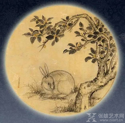 ▲《月中桂兔图》,清代·蒋溥