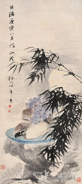 ▲中秋赏月图,任伯年,中国美术馆藏
